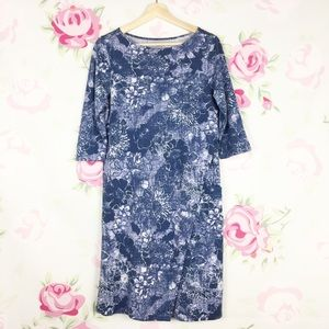 Pure Jill Blue Floral Printed Wrap Style Dress S